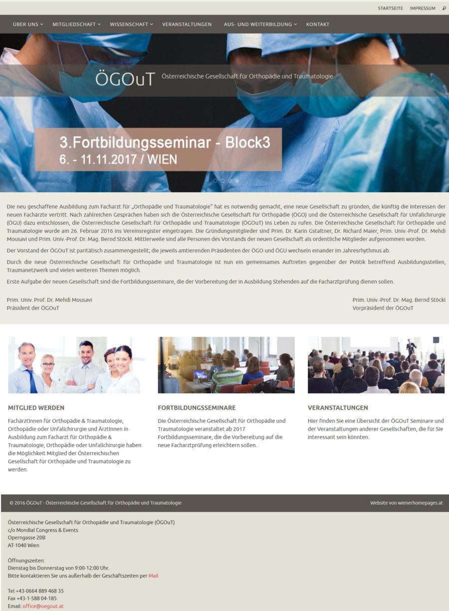 Wordpress Website für die österreichische Gesellschaft für Chirurgie und Traumatologie mit Veranstaltungskalender