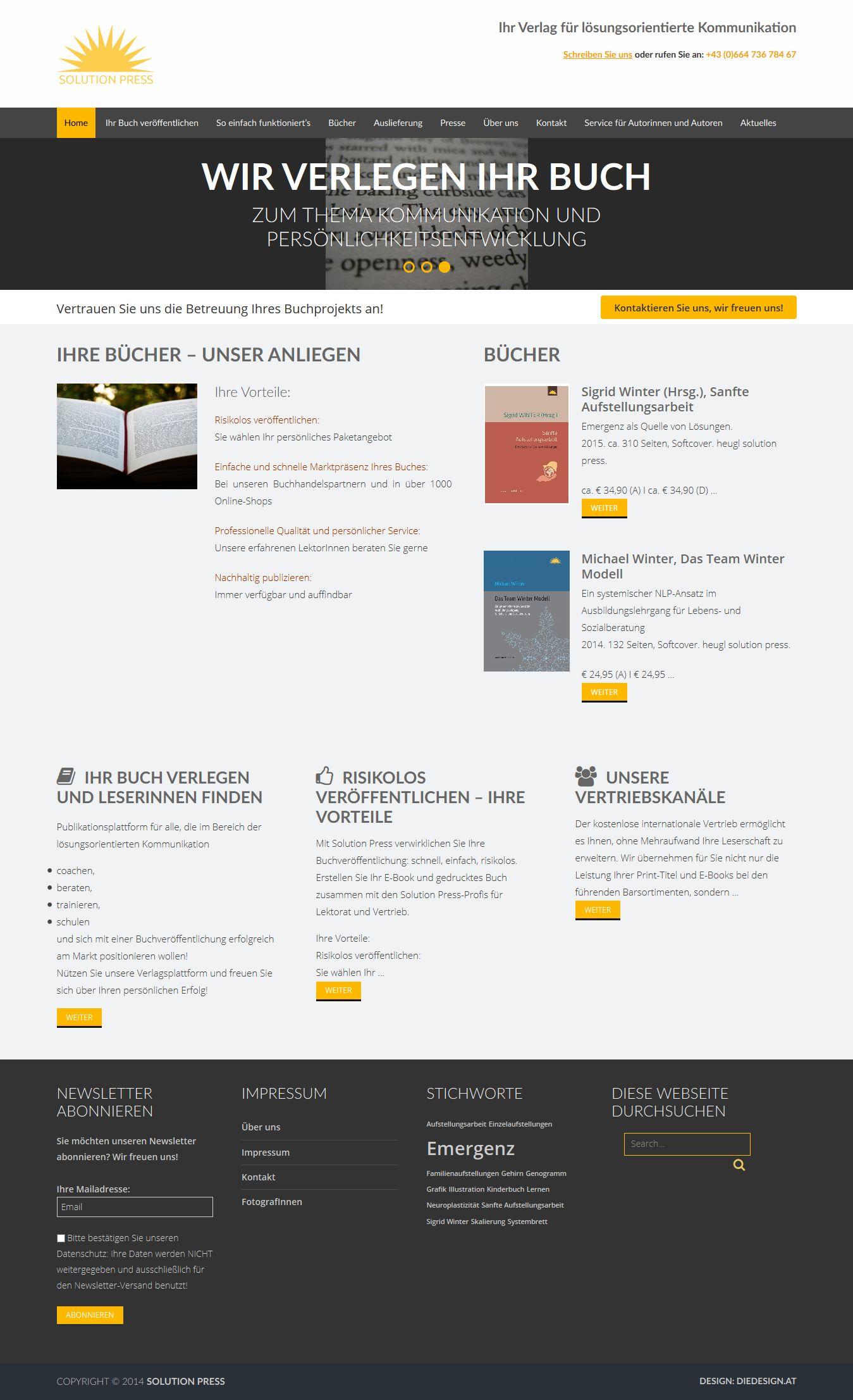 Wordpress Webseite für den Verlag solutionpress