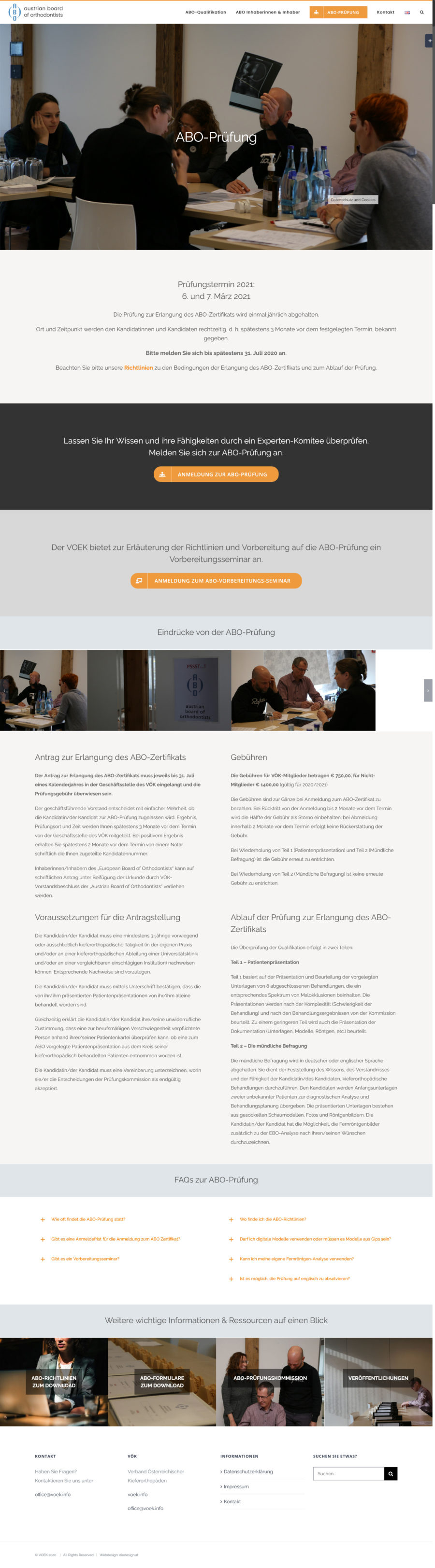 WordPress Website for the Austrian Board Of Orthodontists