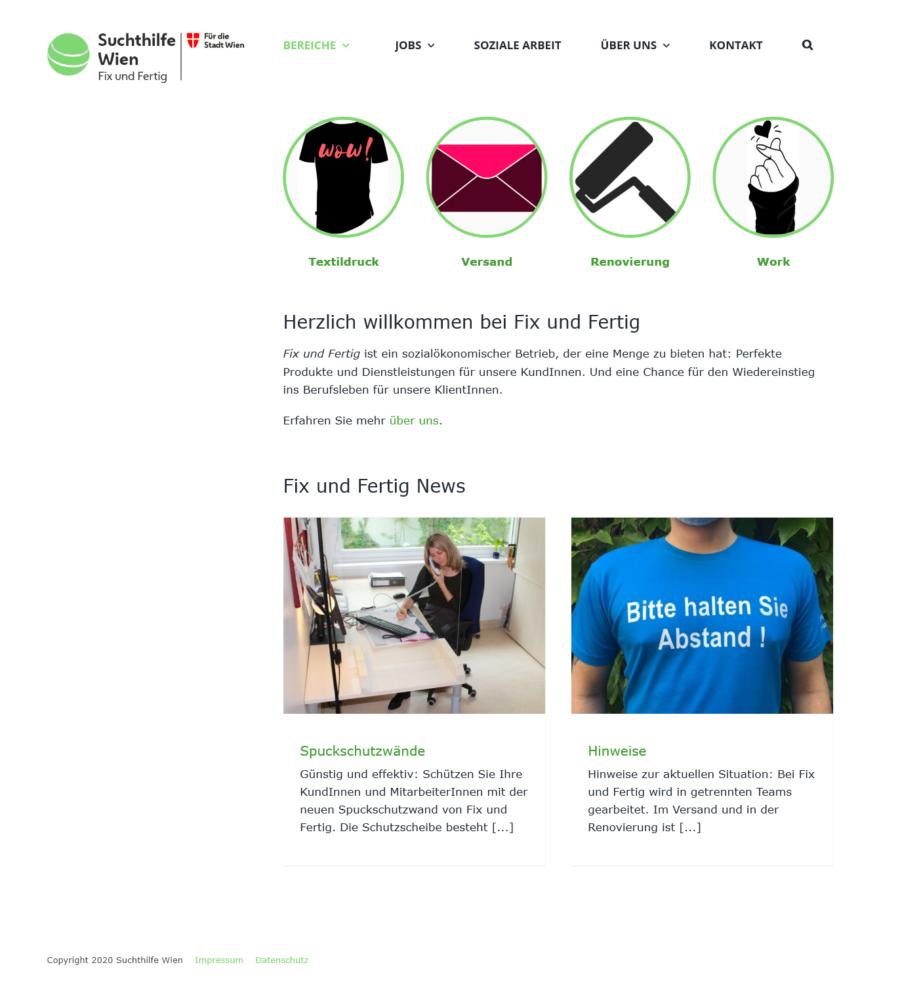Homepage für die Suchthilfe Wien: Website fixundfertig.wien