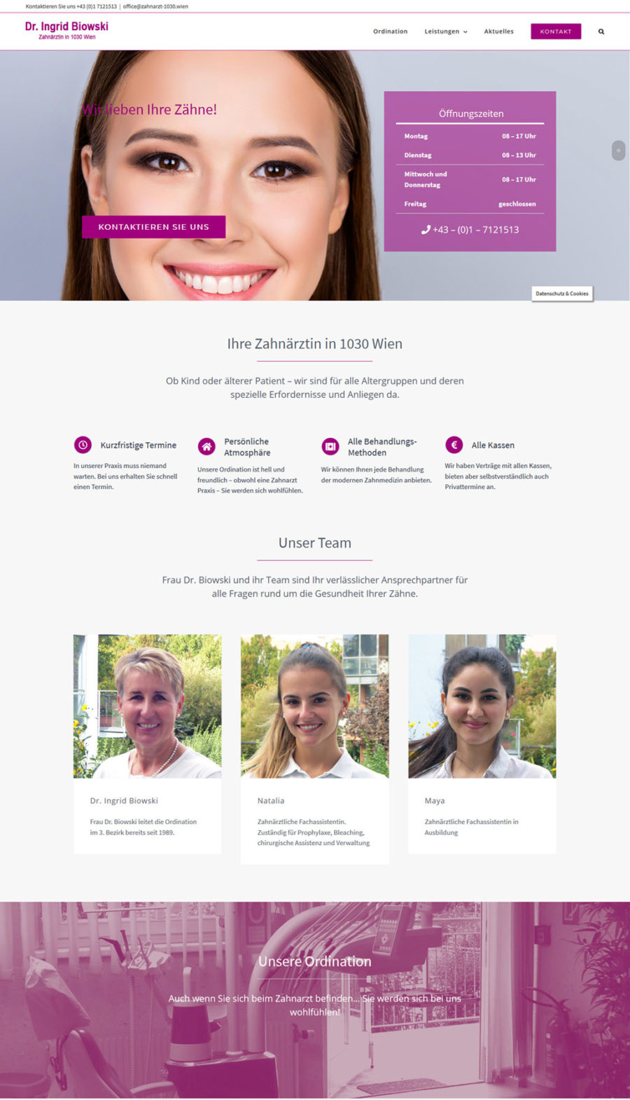 Zahnarzt Homepage in 1030 Wien: WordPress und klares Design