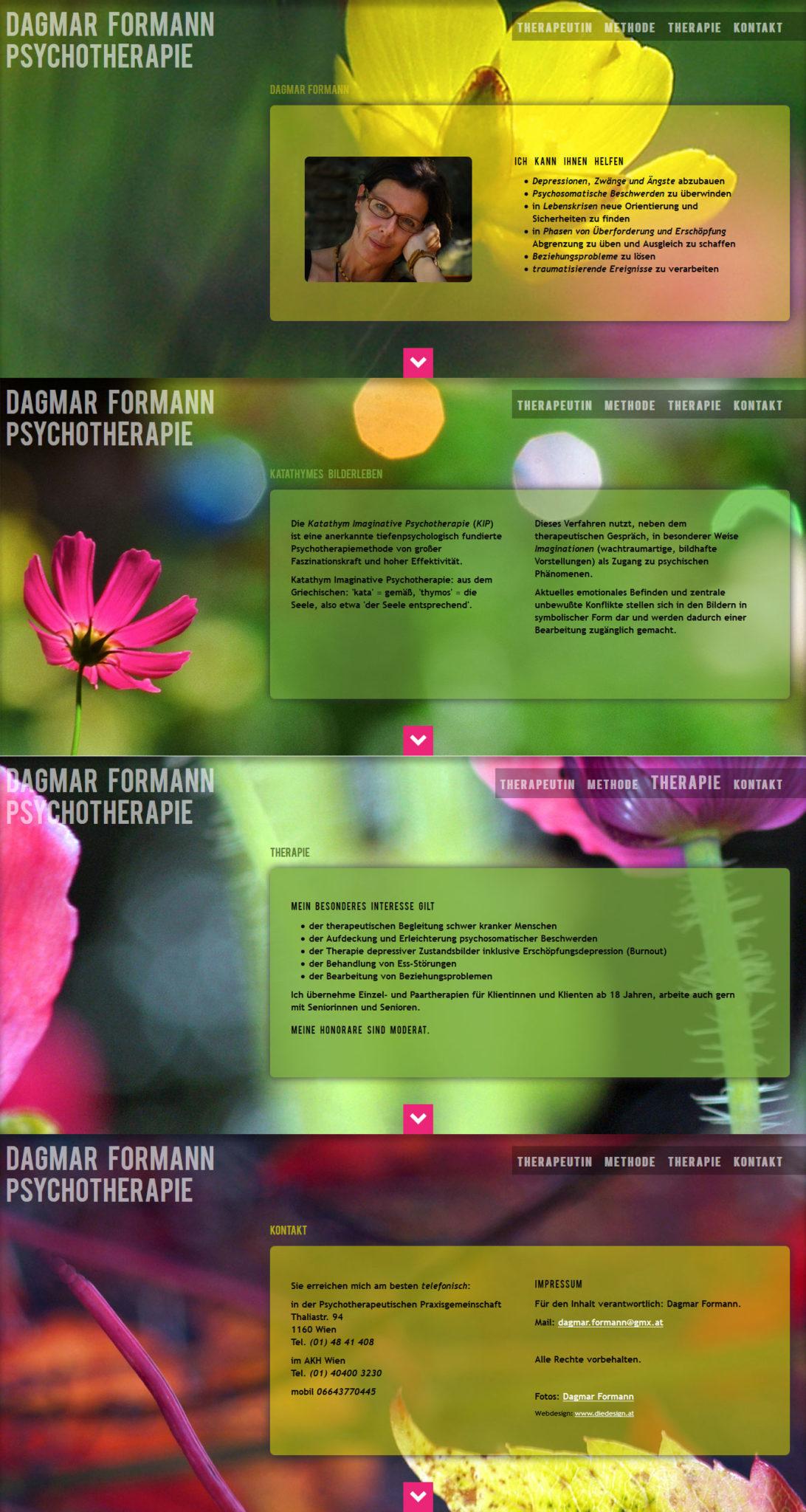 html5 und css3: parallax effekt auf einer one-page website: website für die psychotherapeutin dagmar formann