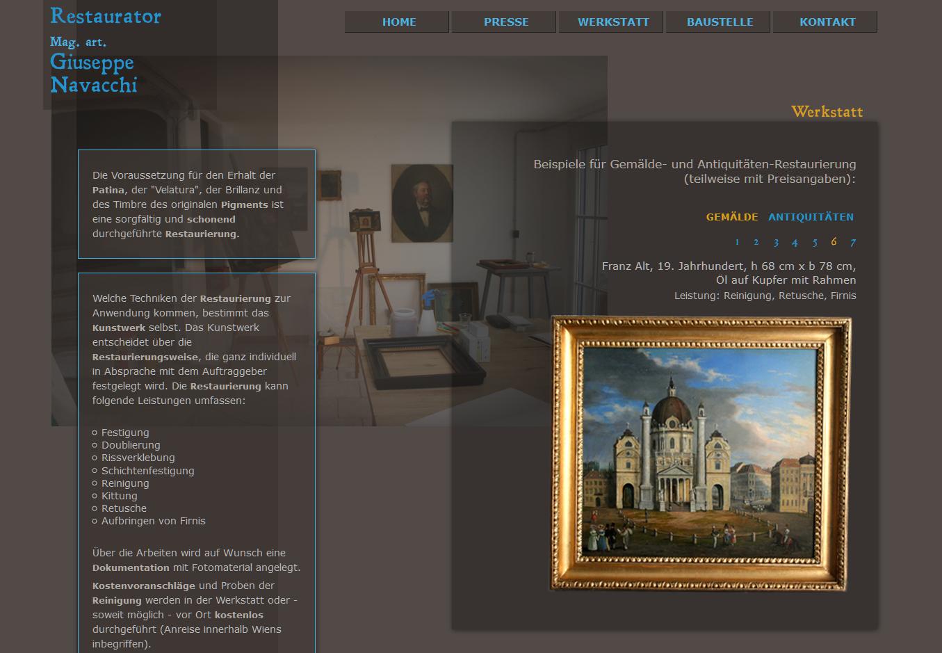 Homepage Restaurator Giuseppe Navacchi