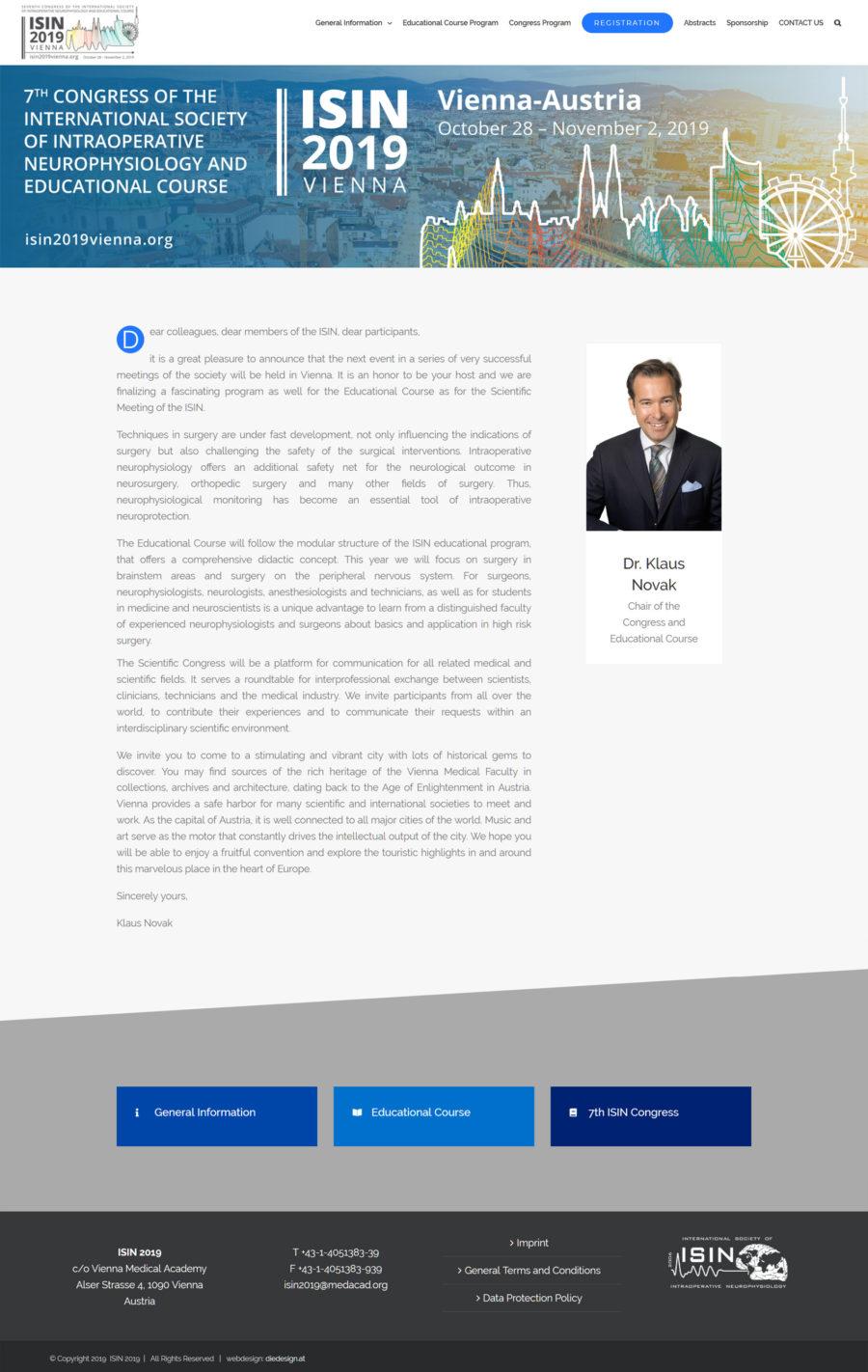 Website für Ärztekongress in Wien: isin2019vienna.org
