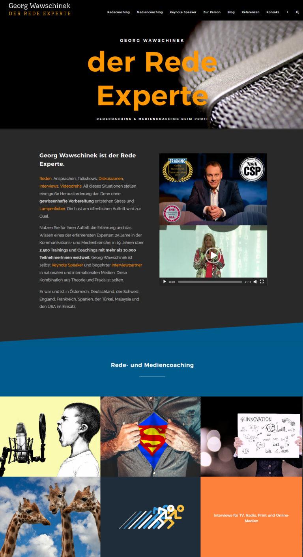 Webdesign auf neuestem Stand: Relaunch der Website des Medien- und Redetrainers Georg Wawschinek