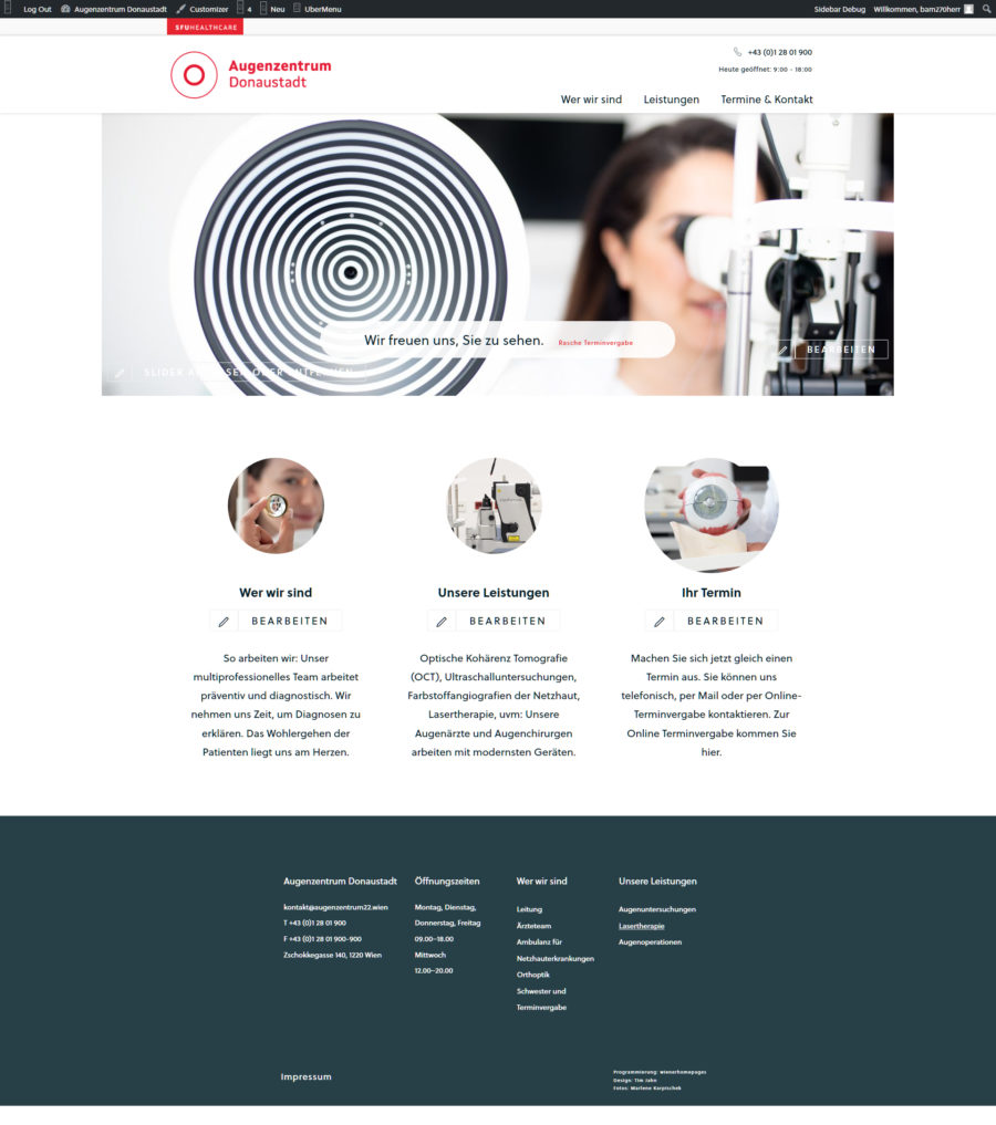 wordpress website augenzentrum donaustadt